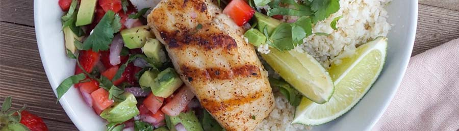 Grilled Halibut with Strawberry Guacamole & Coconut Cauli Rice from Cook at Home Mom