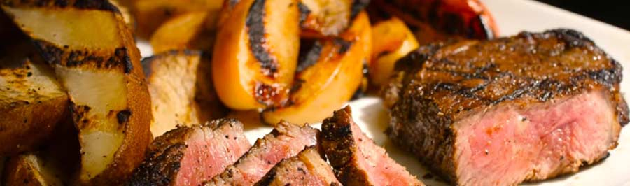 Marinated Steaks, Grilled Fries, & Whiskey Apples on the Solaire Anywhere