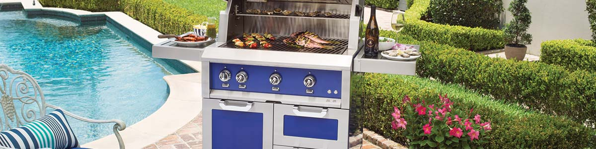 Hestan outdoor kitchen with prince signature color
