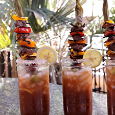 Homemade Bloody Mary with Grilled Tenderloin Kabobs