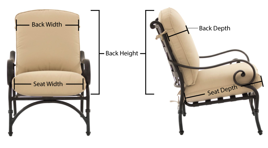 Patio Chair Replacement Cushion Measurement Chart