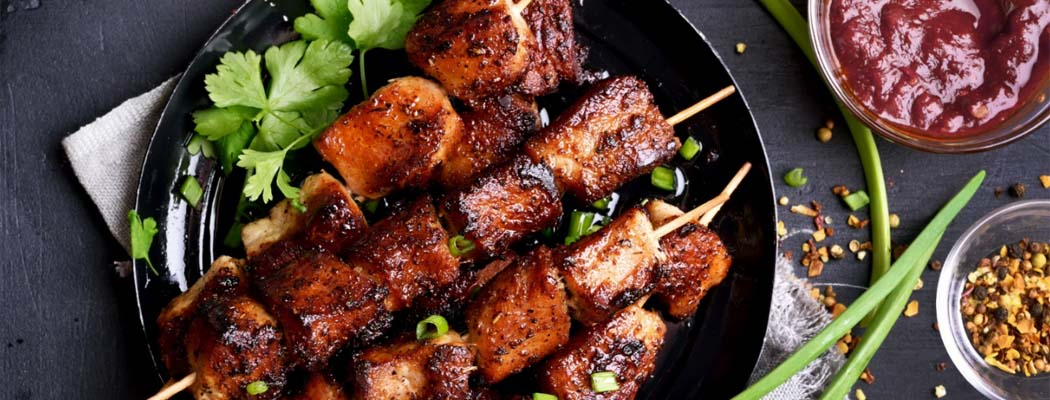 Grilled Pork Skewers with Chili Lime Sauce