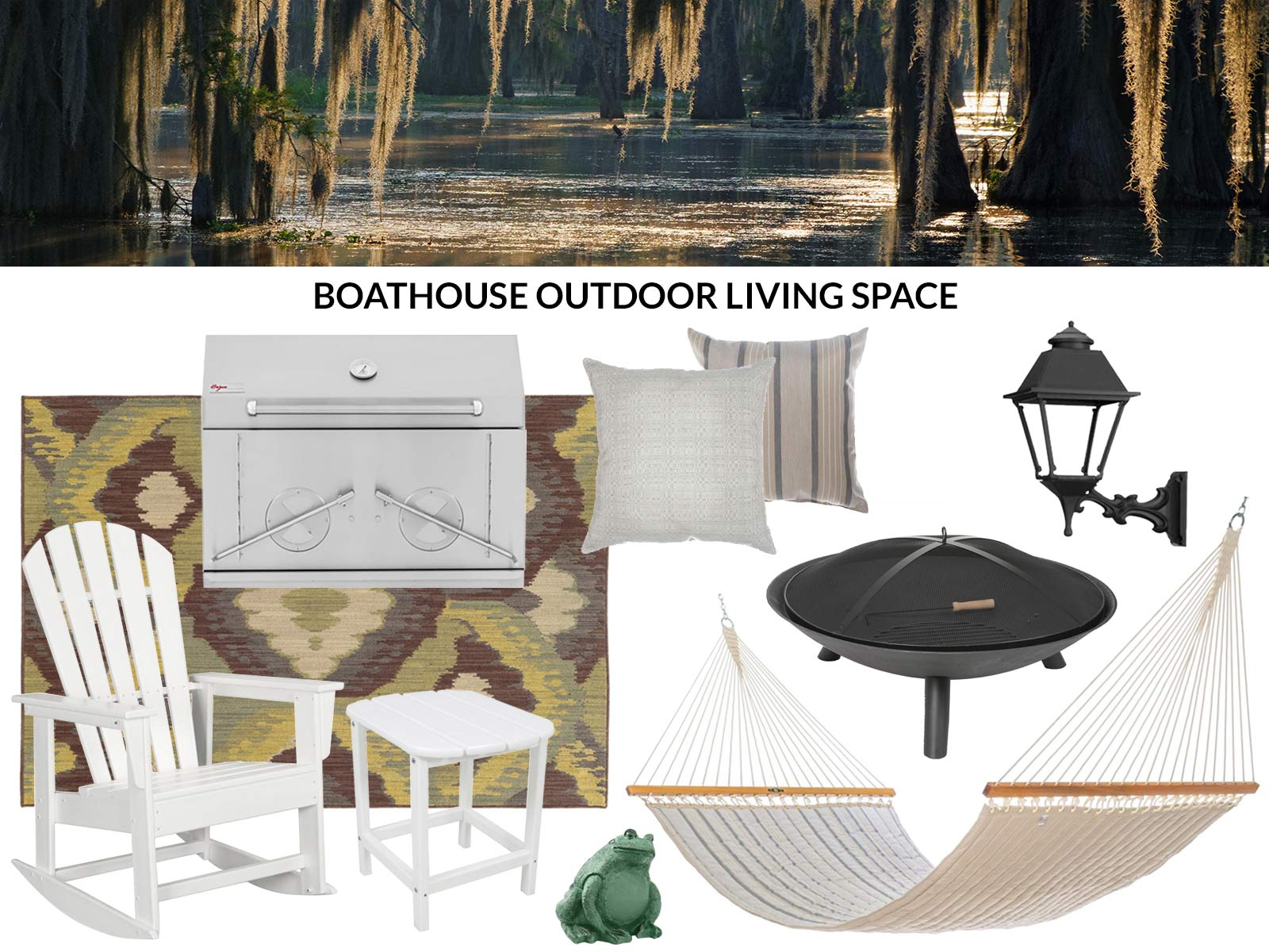 Products recommended to create a bayou boathouse outdoor living space