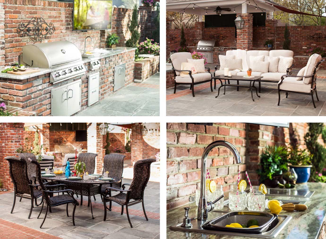 Brick Outdoor Kitchen with Blaze Grill