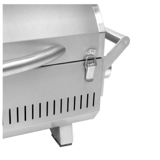 Front-facing clasps lock the lid in place during transport