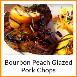 Grilled Bourbon Peach Glazed Pork Chops