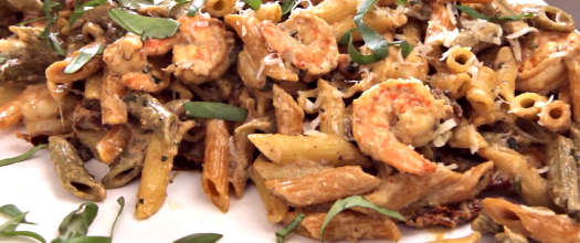 Creamy Lemon Basil Pasta With Shrimp or Chicken Recipe