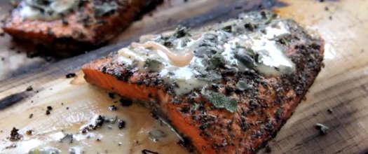 Plank Smoked Salmon Recipe with Sage Lemon Butter Sauce Recipe Video