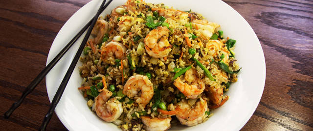 Shrimp Fried Rice Recipe on a Weber Master Touch Charcoal Grill
