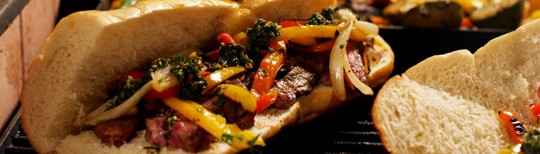 Grilled Skirt Steak and Chimichurri Sandwiches